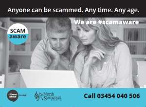 A black and white photo of a man and woman looking at a computer with North Somerset Council scam hotline phone numbers in the bottom right