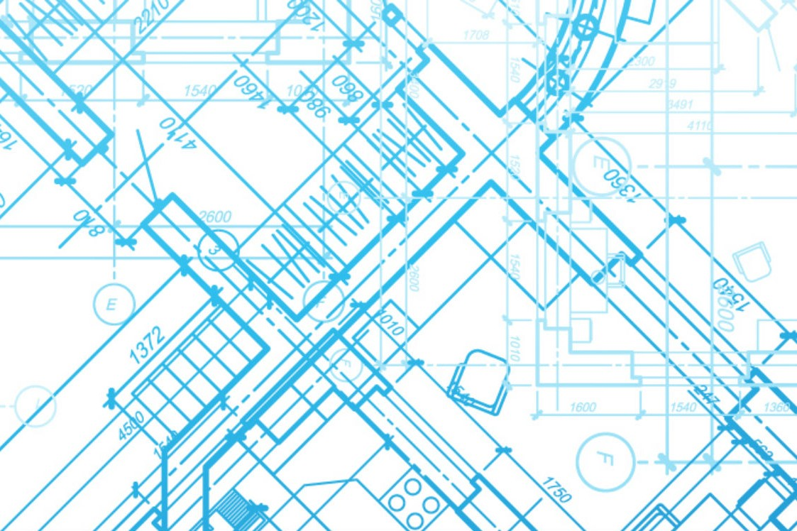 light blue outlines of building plans on a white background