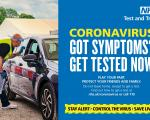 Person in car getting coronavirus test at drive through test centre